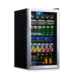 NewAir 126 Can Freestanding Beverage Fridge in Stainless Steel with Adjustable Shelves