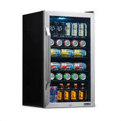 Newair 126 Can Freestanding Beverage Fridge in Stainless Steel with Handle and SplitShelf™