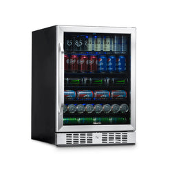 "NewAir 24"" Built-in 177 Can Beverage Fridge in Stainless Steel with Precision Temperature Controls and Adjustable Shelves"