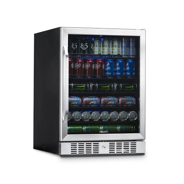 "NewAir 24"" Built-in 177 Can Beverage Fridge, Stainless Steel"