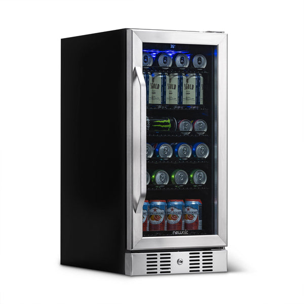 "Blemished NewAir 15"" Built-in 96 Can Beverage Fridge in Stainless Steel"