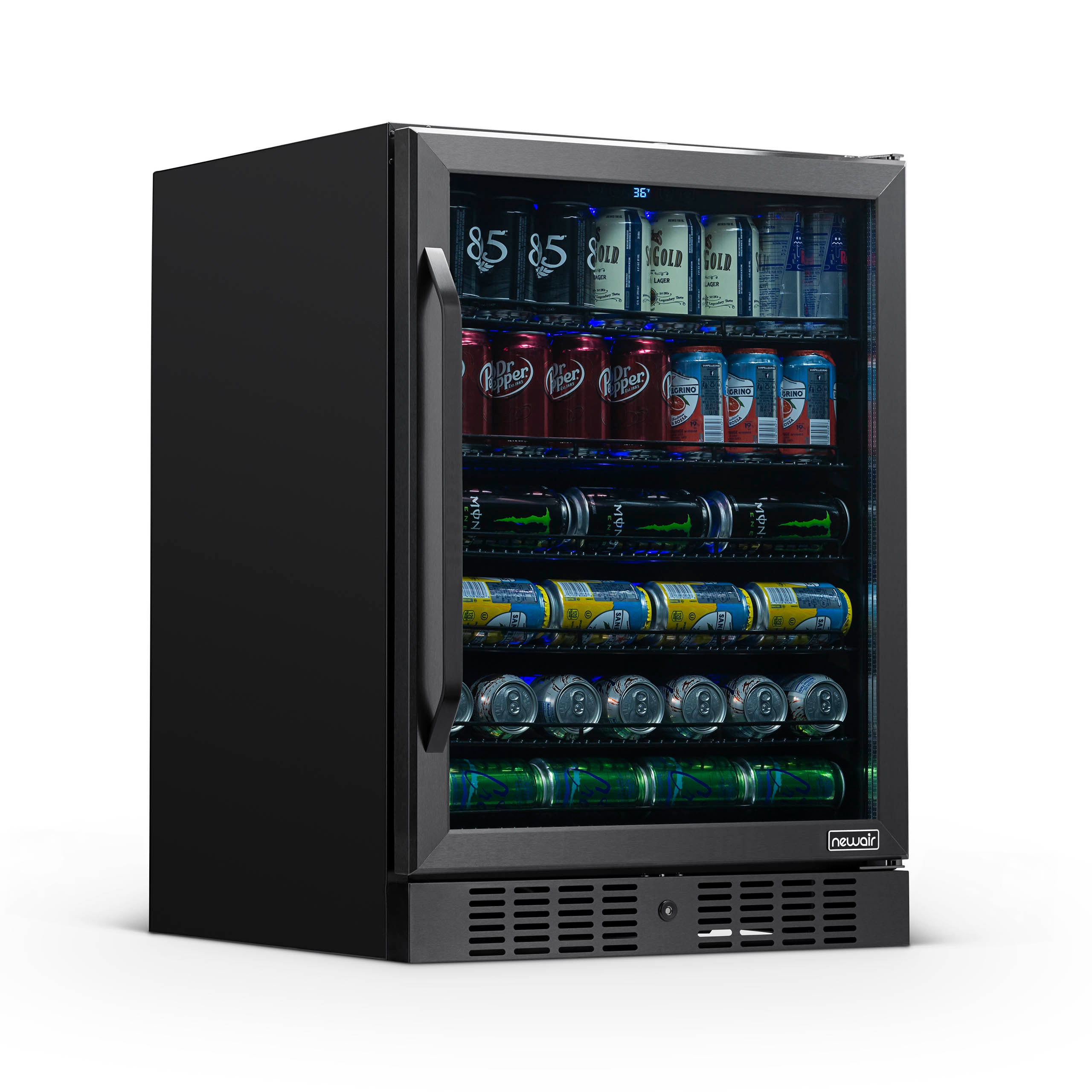 Newair Black Stainless Steel Beverage Fridge 24 Built In 177 Can Capacity