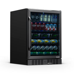 "NewAir 24"" Built-in 177 Can Beverage Fridge in Black Stainless Steel with Precision Temperature Controls and Adjustable Shelves"