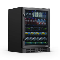 "Remanufactured NewAir 24"" Built-in 177 Can Beverage Fridge in Black Stainless Steel with Precision Temperature Controls and Adjustable Shelves"