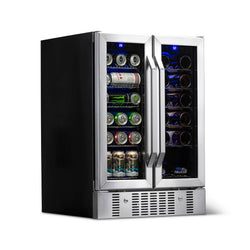 "NewAir 24"" Built-in Dual Zone 18 Bottle and 58 Can Wine and Beverage Fridge in Stainless Steel with French Doors and Chrome Shelves"