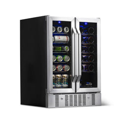 "Remanufactured NewAir 24"" Built-in Dual Zone 18 Bottle and 58 Can Wine and Beverage Fridge"