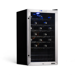 NewAir Freestanding 33 Bottle Compressor Wine Fridge in Stainless Steel, Adjustable Chrome Racks and Exterior Digital Thermostat with a Glass Door