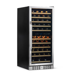 "Remanufactured Newair 27"" Built-in 116 Bottle Dual Zone Compressor Wine Fridge in Stainless Steel, Quiet Operation with Smooth Rolling Shelves"