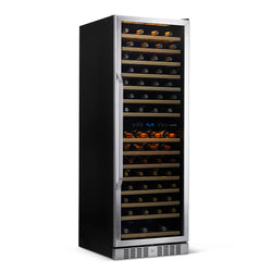 "Newair 27"" Built-in 160 Bottle Dual Zone Compressor Wine Fridge in Stainless Steel, Quiet Operation with Smooth Rolling Shelves"