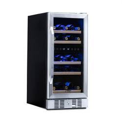 "Newair 15"" Built-in 29 Bottle Dual Zone Wine Fridge in Stainless Steel, Quiet Operation with Beech Wood Shelves"