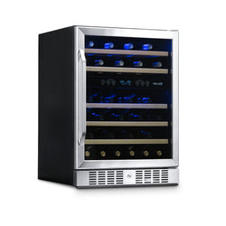 "NewAir 24"" Built-in 46 Bottle Dual Zone Compressor Wine Fridge in Stainless Steel, Quiet Operation with Beech Wood Shelves"