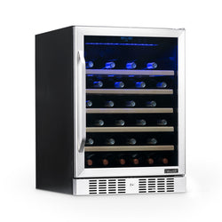 "NewAir 24"" Built-In 52 Bottle Compressor Wine Fridge in Stainless Steel with Precision Digital Thermostat and Premium Beech Wood Shelves"
