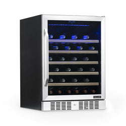 "Remanufactured NewAir 24"" Built-In 52 Bottle Compressor Wine Fridge in Stainless Steel"