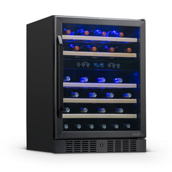 "Newair 24"" Built-in 46 Bottle Dual Zone Wine Fridge in Black Stainless Steel"