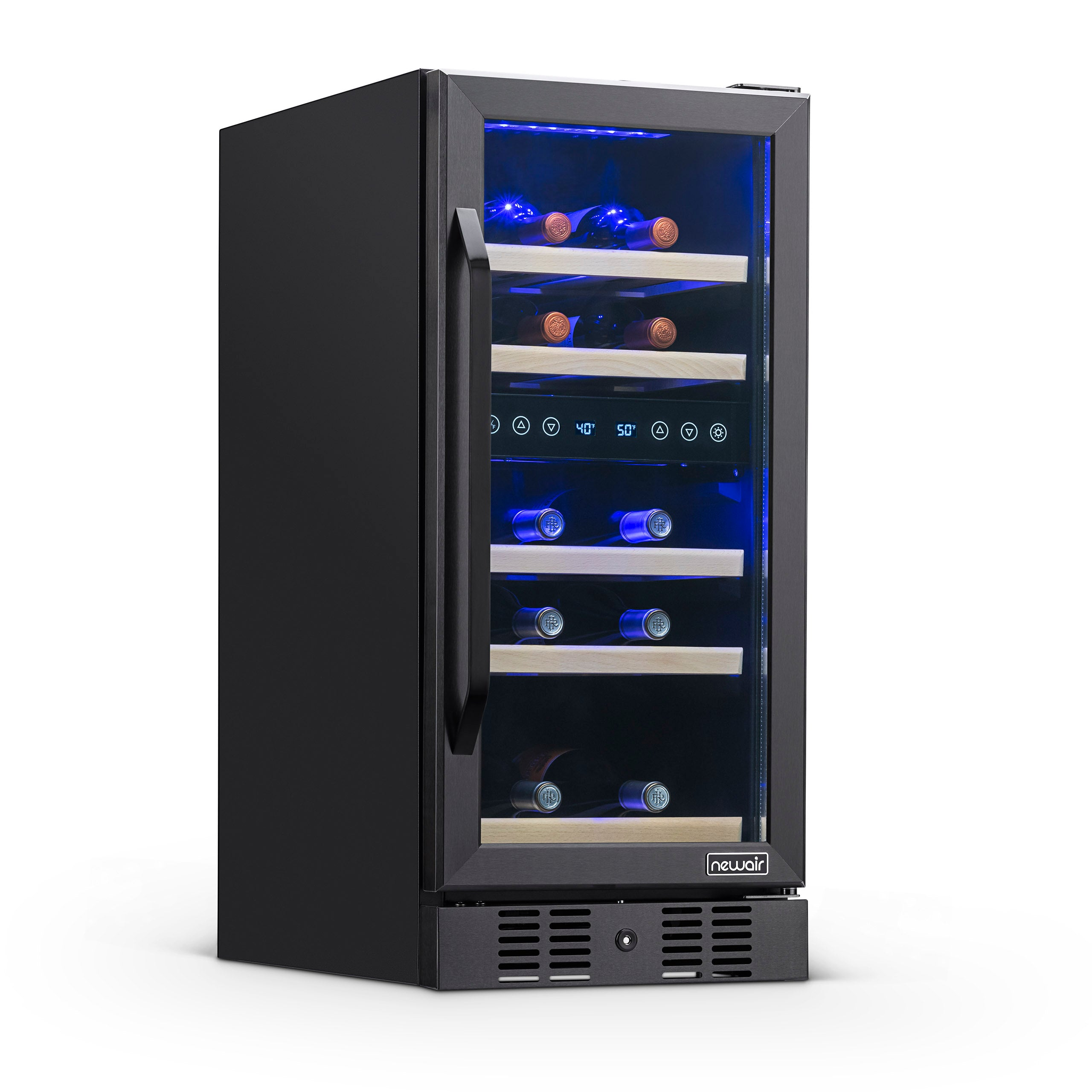 Stainless Steel Shelf Wine Cooler Tx 8-Bottle Single-Zone in Red Counter Top Wine Cellar Quiet Operation Fridge Touch Temperature Control