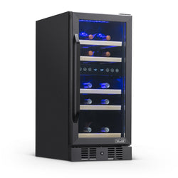 "Blemished NewAir 15"" Built-in 29 Bottle Dual Zone Compressor Wine Fridge in Black Stainless Steel"
