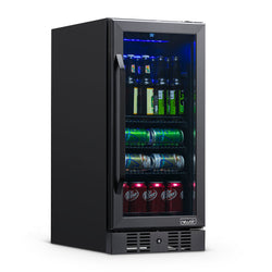 "NewAir 15"" Built-in 96 Can Beverage Fridge in Black Stainless Steel with Precision Temperature Controls and Adjustable Shelves"