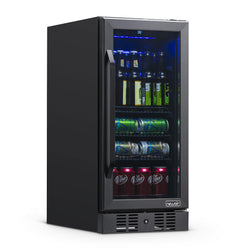"Remanufactured NewAir 15"" Built-in 96 Can Beverage Fridge in Black Stainless Steel"