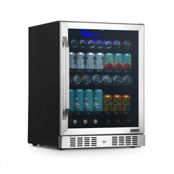 "NewAir 24"" Built-in 177 Can Beverage Fridge in Stainless Steel with Triple-Pane Glass"