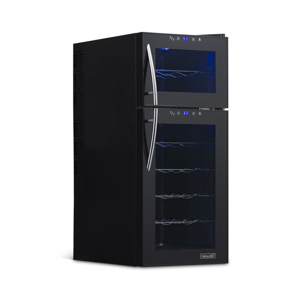 Remanufactured NewAir 21 Bottle Freestanding Dual Zone Wine Fridge in Black, Quiet Operation