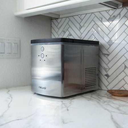 NewAir Portable Countertop Ice Maker, 33 lbs. Stainless Silver
