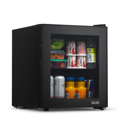 NewAir 60 Can Beverage Fridge with Glass Door, Small Freestanding Mini Fridge in Black