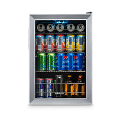 NewAir 90 Can Freestanding Beverage Fridge in Stainless Steel, with Adjustable Shelves
