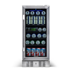 "Blemished NewAir 15"" Built-in 96 Can Beverage Fridge in Stainless Steel - NewAir"