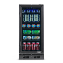 "NewAir 15"" Built-in 96 Can Beverage Fridge in Black Stainless Steel"