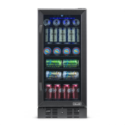 "Blemished NewAir 15"" Built-in 96 Can Beverage Fridge in Black Stainless Steel"