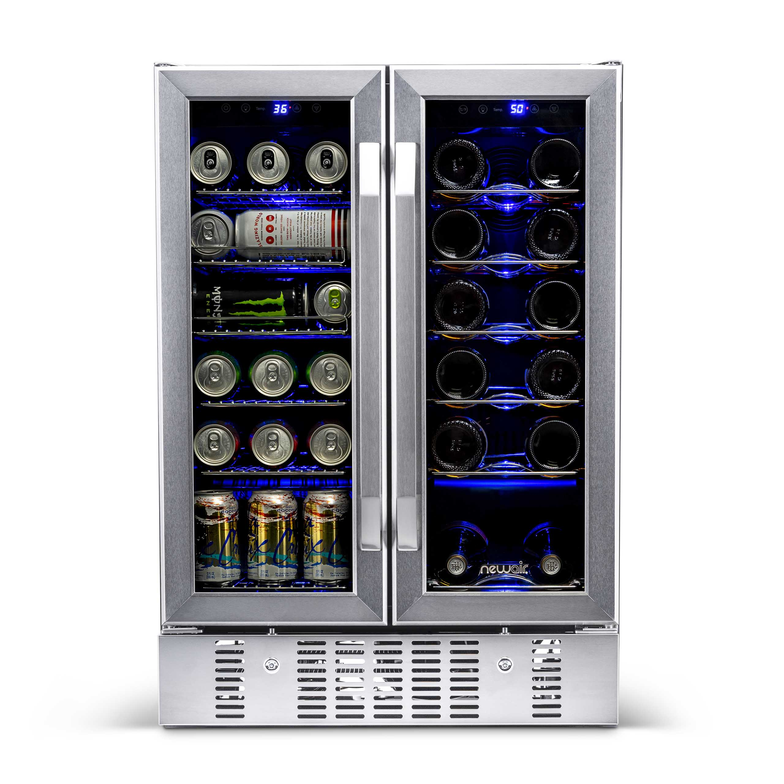 "NewAir_24""_Builtin_Dual_Zone_18_Bottle_and_58_Can_Wine_and_Beverage_Fridge"