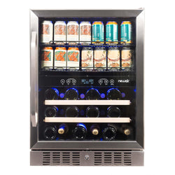 "Remanufactured NewAir 24"" Built-in Dual Zone 20 Bottle and 70 Can Wine and Beverage Fridge"