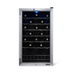 Newair Freestanding 33 Bottle Compressor Wine Fridge in Stainless Steel, Adjustable Chrome Racks
