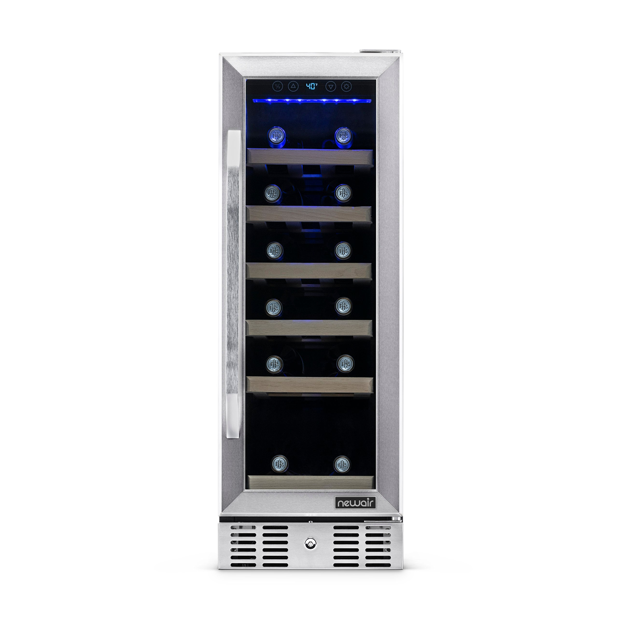 SMETA Compressor Wine Cooler 19 Bottle Freestanding LED Touchscreen Wine Cooler Refrigerator Black and Stainless Steel