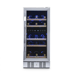 "Remanufactured NewAir 15"" Built-in 29 Bottle Dual Zone Compressor Wine Fridge"
