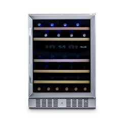 "NewAir 24"" Built-in 46 Bottle Dual Zone Compressor Wine Fridge With No Kickplate"