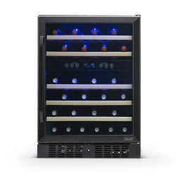 "Remanufactured NewAir 24"" Built-in 46 Bottle Dual Zone Wine Fridge in Black Stainless Steel"