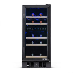 "NewAir 15"" Built-in 29 Bottle Dual Zone Compressor Wine Fridge in Black Stainless Steel"