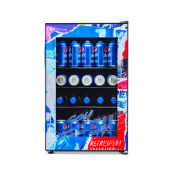 "Pepsi 90 Can ""Pepsi Rewind"" Freestanding Beverage Fridge, Chills Down to 37 Degrees - NewAir"