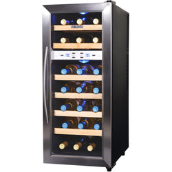 Blemished NewAir 21 Bottle Freestanding Dual Zone Wine Fridge, Quiet Operation with Stainless Steel and Beech Wood Finishes