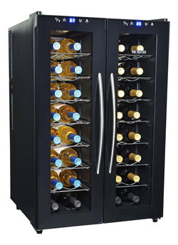Remanufactured NewAir 32-Bottle Black Dual Zone Wine Cooler