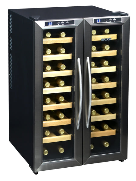 NewAir AW-321ED Collector's 32 Bottle Dual-Zone Wine Cooler, Stainless Steel