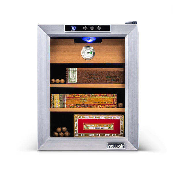 NewAir 250 Count Cigar Cooler CC-100 Stainless Steel Electric Cigar Humidor