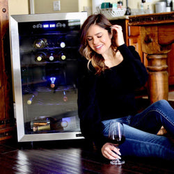 NewAir  Freestanding 28 Bottle Dual Zone Compressor Wine Fridge in Stainless Steel,  Adjustable Racks and Exterior Digital Thermostat  - NewAir