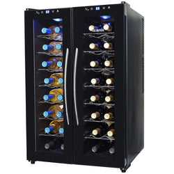 Blemished NewAir 32-Bottle Black Dual Zone Wine Cooler
