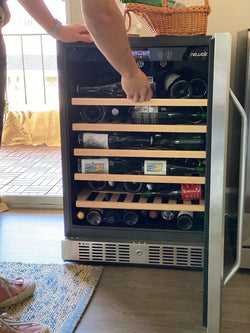 "NewAir 24"" Built-In 52 Bottle Compressor Wine Fridge in Stainless Steel with Premium Beech Wood Shelves"