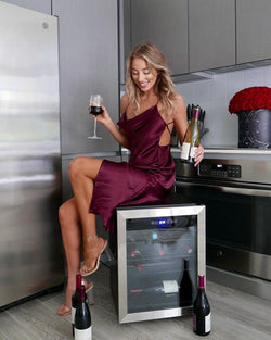 NewAir Freestanding 23 Bottle Compressor Wine Fridge in Stainless Steel, Adjustable Racks and Exterior Digital Thermostat  - NewAir