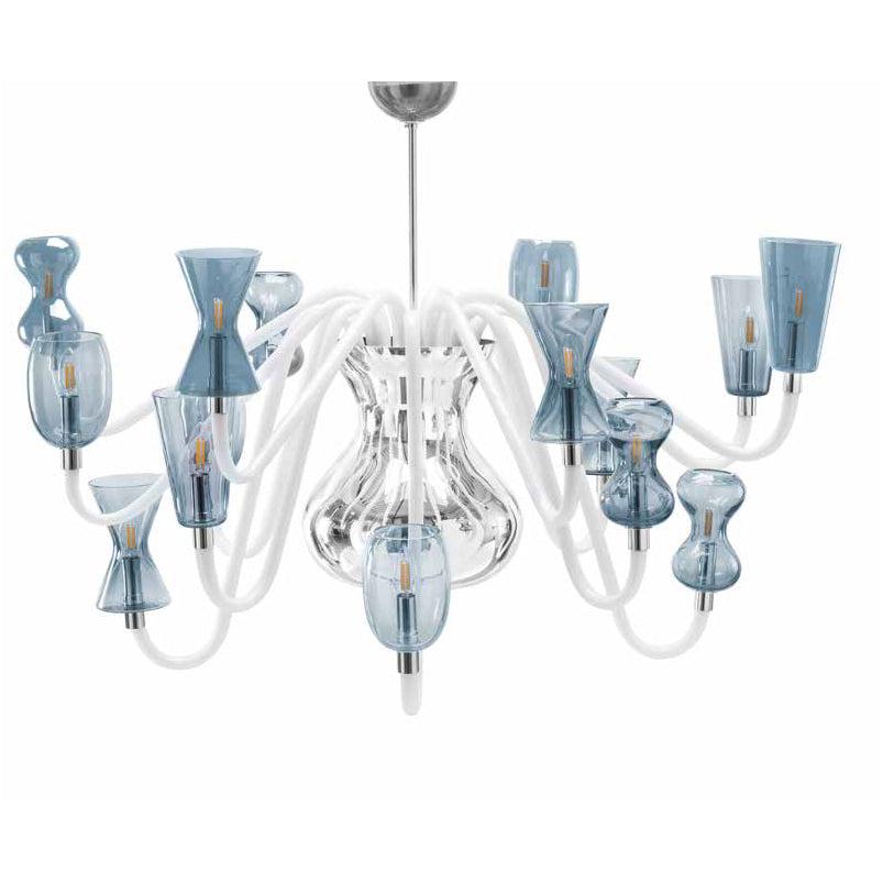 K1 Glass Chandelier Light Blue - 16 Lights