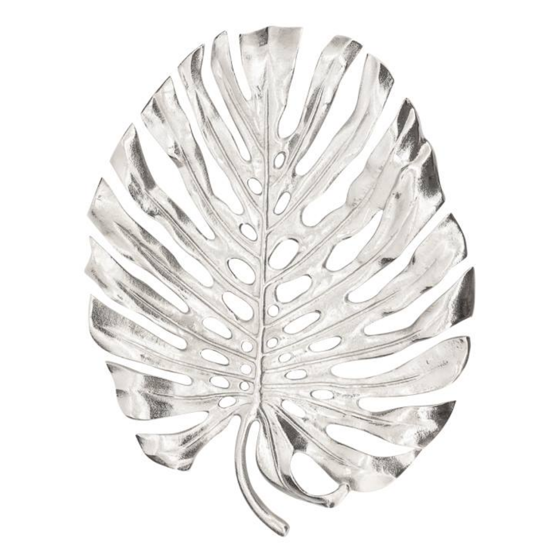"Nickel Plated Leaf 19"" Decor"