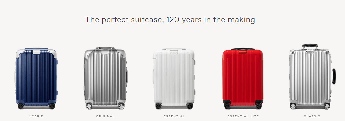 Rimowa Collections - Featuring Hybrid, Original, Essential, Essential lite, and classic